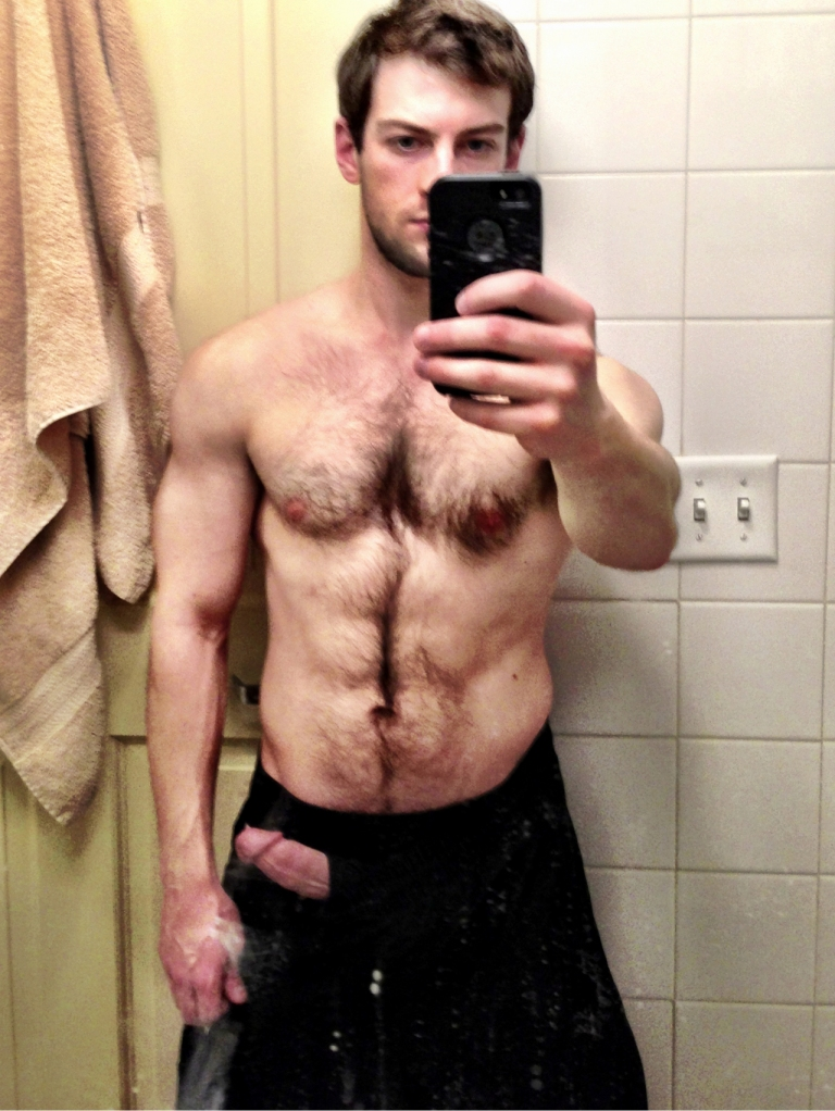 Hairy Guy Showing Off His Hard Cut Cock - Nude Amateur Guys