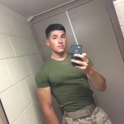 Cute Army Guy Pulling Out His Uncut Cock