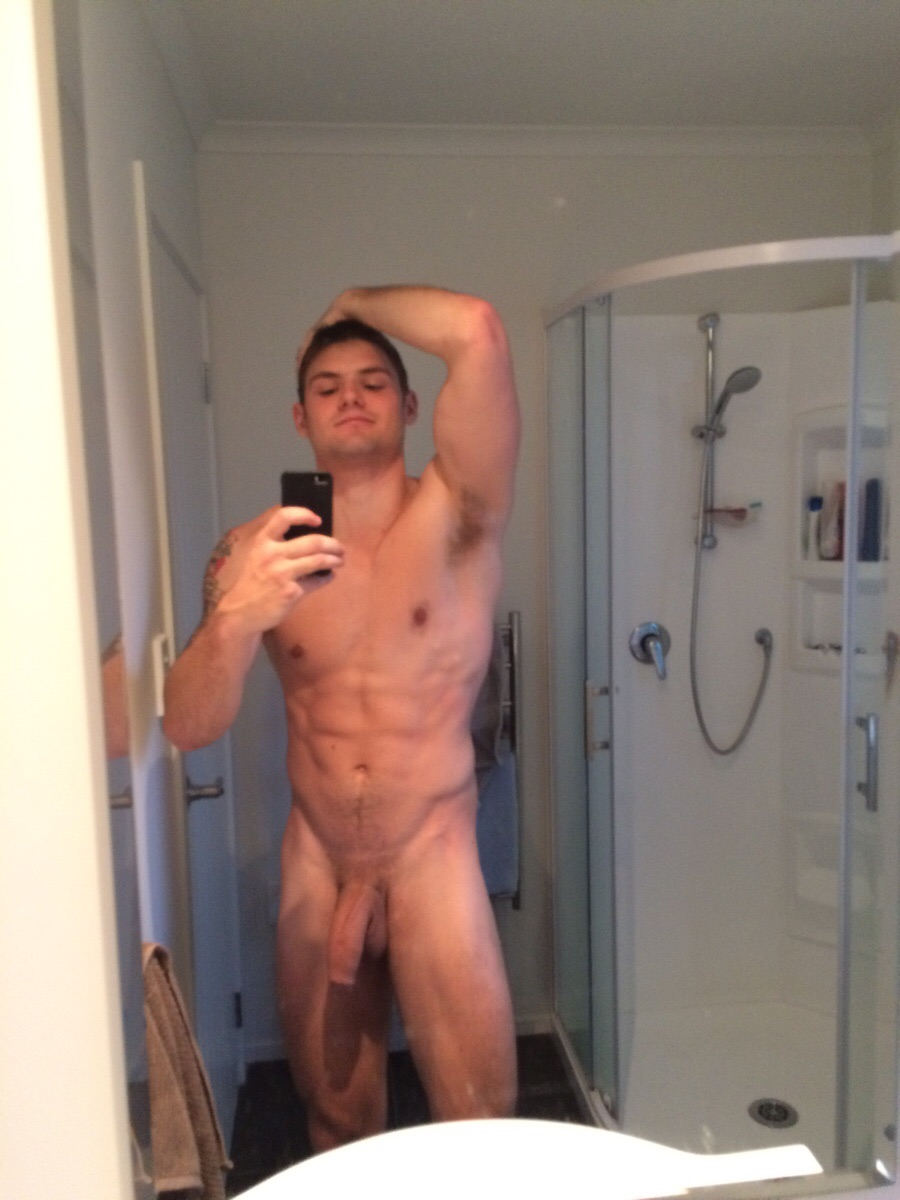 hot young guy naked in mirror